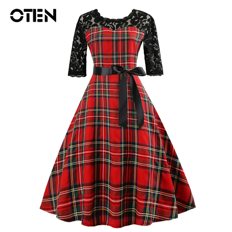 OTEN Tartan Clothing Women Half Sleeve Lace Patchwork Red Plaid gingham Vintage Rockabilly pin up Skater Knee Length Party dress tartan