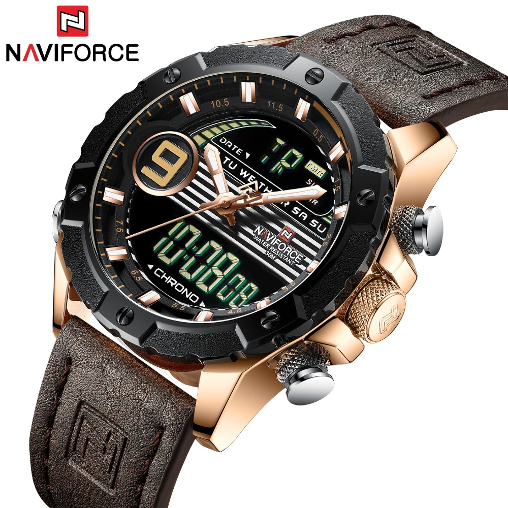 NAVIFORCE Reloj Hombre 2019 Poignet montres homme Top Marque cuir véritable de luxe montres à quartz Sport Horloge Mâle montres pour hommes