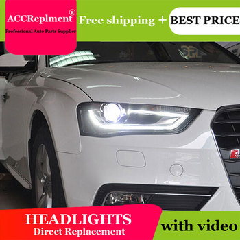 Car Styling for Audi A4 Headlights 2013-2016 High Configuration A4 B9 LED DRL Lens Double Beam H7 HID Xenon bi xenon lens