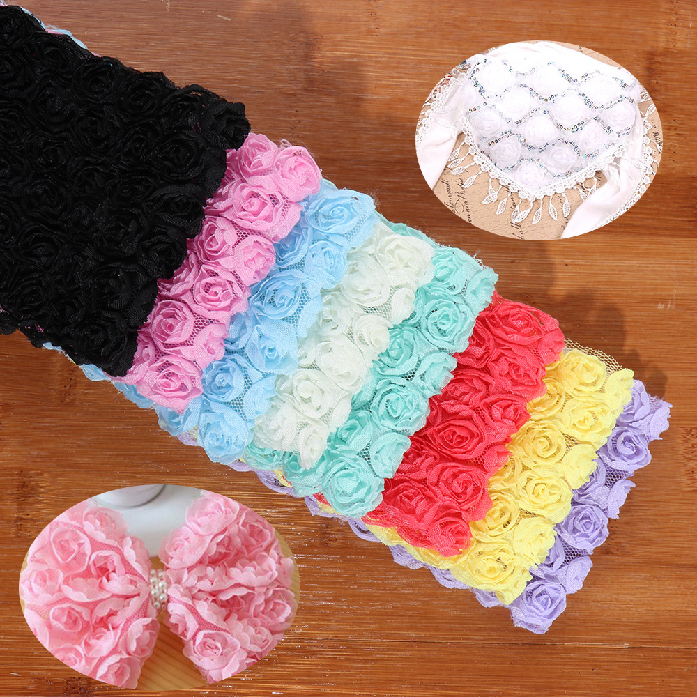 DIY 1 Yard 6 Row 9cm Width 3D Chiffon Rose Flower Embroidered Lace Trim Ribbon Fabric Sewing Craft Costume Decoration
