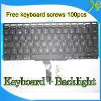 Brand New SE Sweden Swedish Keyboard Backlight Backlit 100pcs Keyboard Screws For MacBook Air 11 6