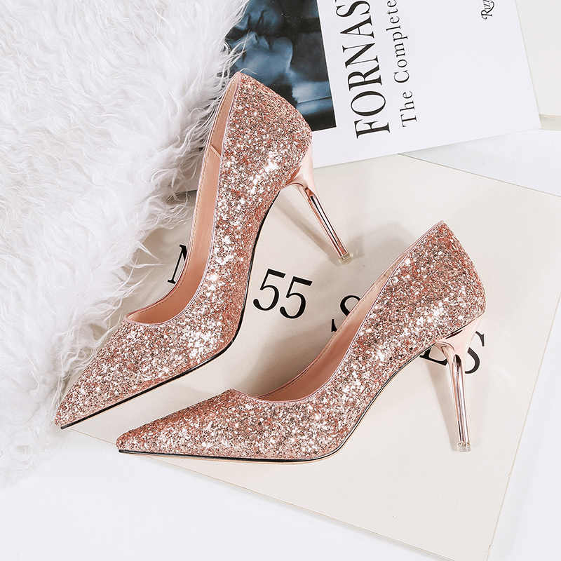 outlet store wholesale online hot new products 2019 Fall Women Sexy Pumps Glitter Wedding Shoes Rose Gold White ...
