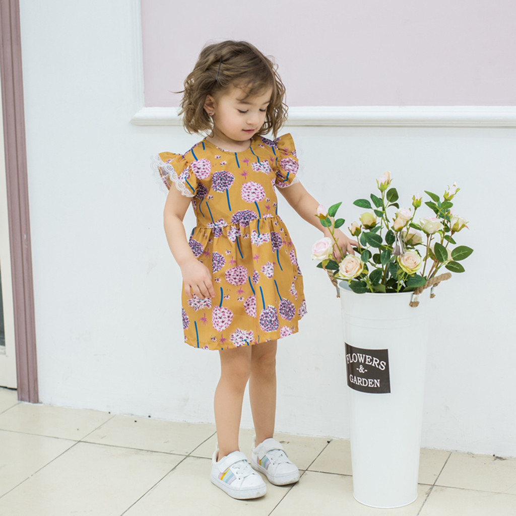 Quality In Official Website Toddler Baby Kids Girls Lace Floral Print Sleeveless Princess Dresses Casual Clothes Meisjes Kleding Kinder Kleider Roupa Menina Superior