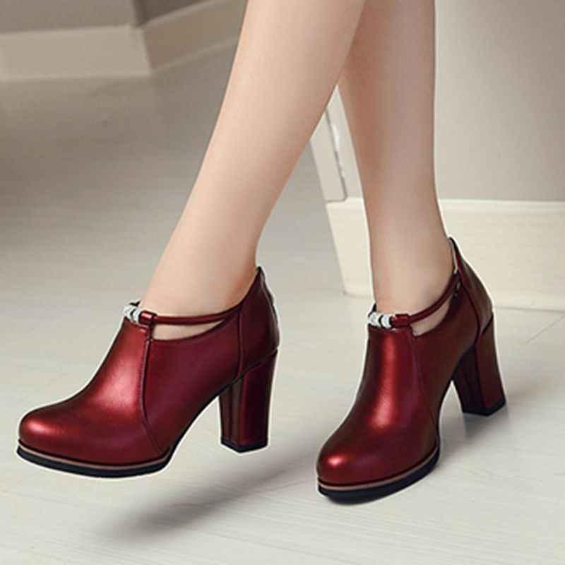 QPLYXCO 2017 Satış Yeni Moda yarım çizmeler Büyük ve Küçük Boy 32-48 Bahar Sonbahar kış Kadın kısa çizmeler pompaları parti ayakkabıları 7-13