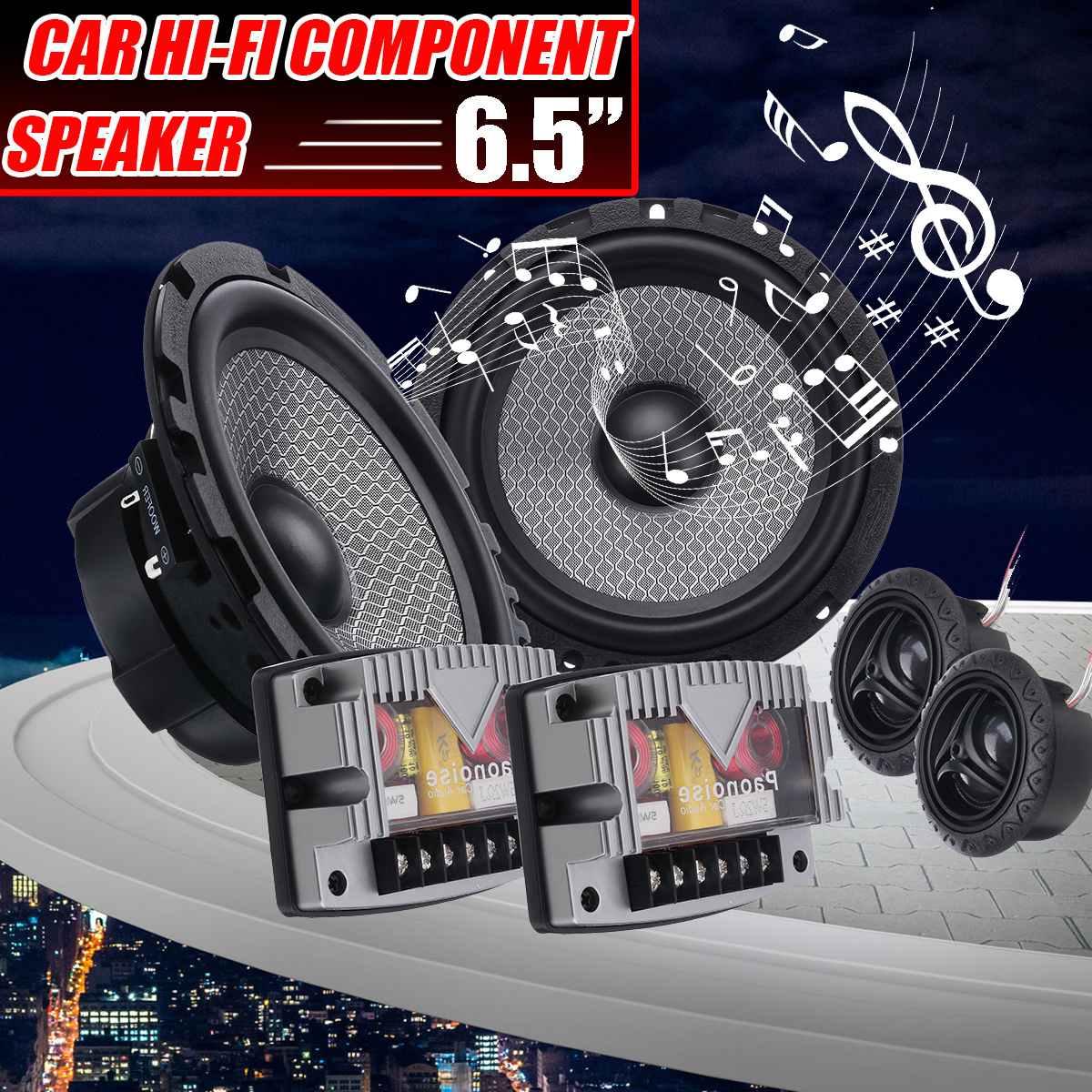 6.5 pouces 400W voiture Audio bidirectionnel HiFi composant haut-parleur système 25 mm dôme Tweeter 1 pouce ASV voix bobine voiture Universals