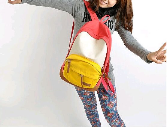 Promotion Women's Panelled Canvas Backpacks Student School Bags For Boy Girl Teenagers Casual Rucksack Daybags promotion women s panelled canvas backpacks student school bags for boy girl teenagers casual rucksack daybags