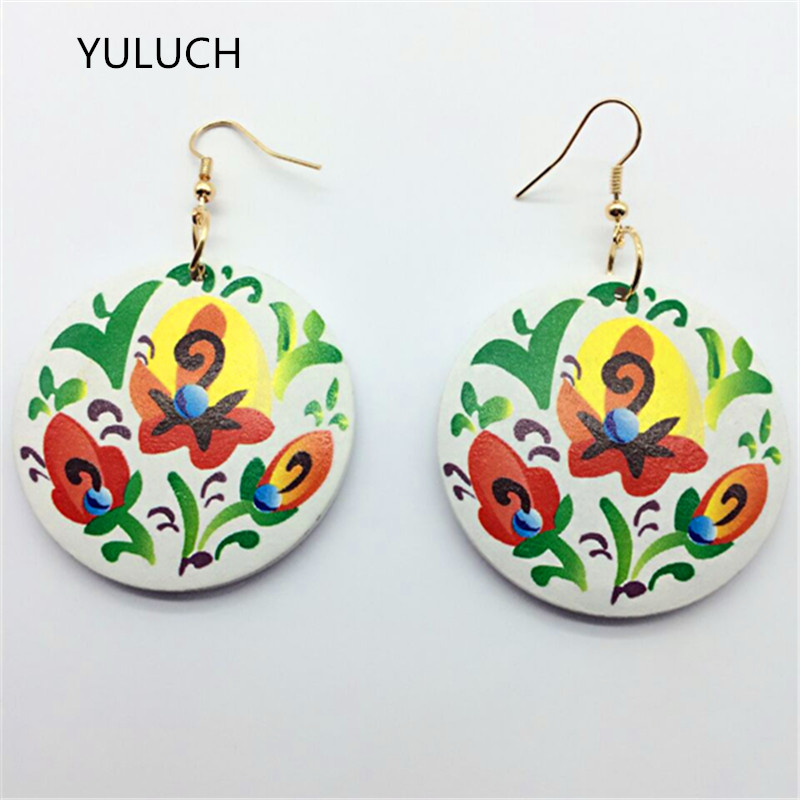 Pair good african red green brown color earrings new design quality wood porcelain earrings Latest new arrival