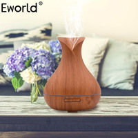 Eworld 400ml Air Humidifier Aroma Essential Oil Diffuser Ultrasonic With Wood Grain 7Colorful Changing LED Lights