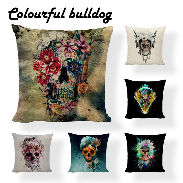 Cool Mexican Skull Pillow Cushion Case Native American Throw Cover Enchanting Native American Decorative Pillows