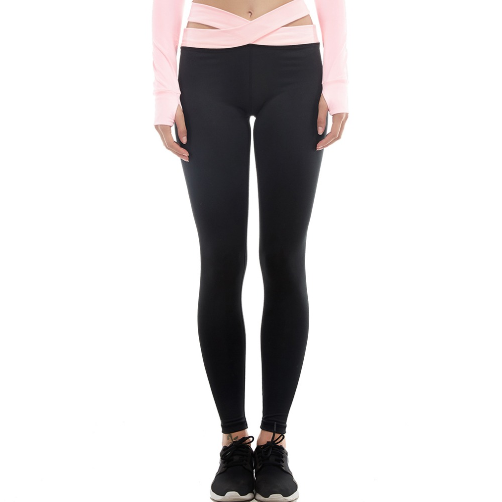 Women's Compression Cross-Belt Leggings Base Layer Tights Long Pants Girls Trousers Running Yoga Fitness Workout Black Gray(China)