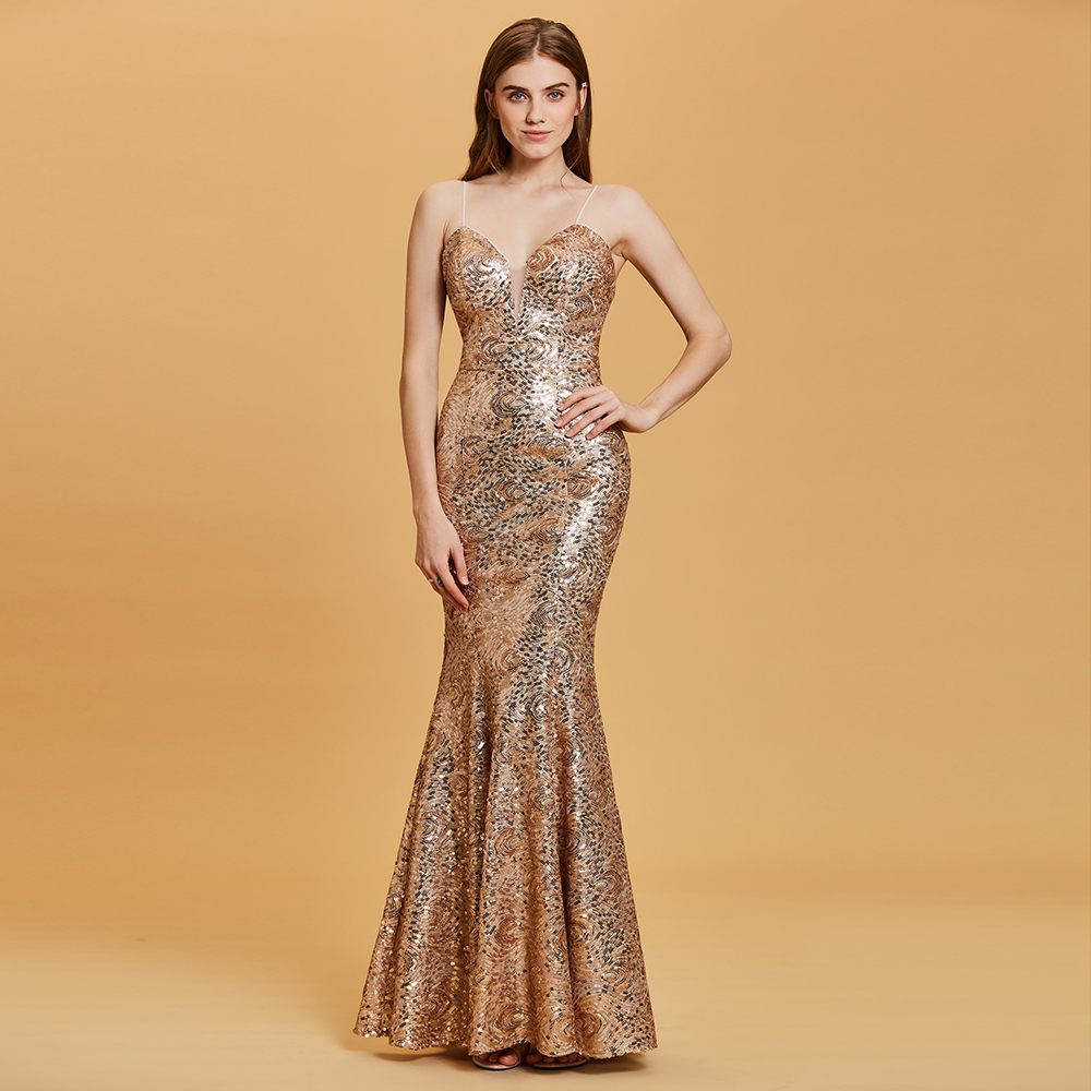 4739db61a7f5 Dressv golden long evening dress cheap spaghetti straps backless mermaid wedding  party formal dress trumpet evening dresses-in Evening Dresses from Weddings  ...