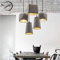 Retro industrial concrete hanging lamp E27 LED art deco cement pendant light with 4 styles for dining room parlor restaurant bar
