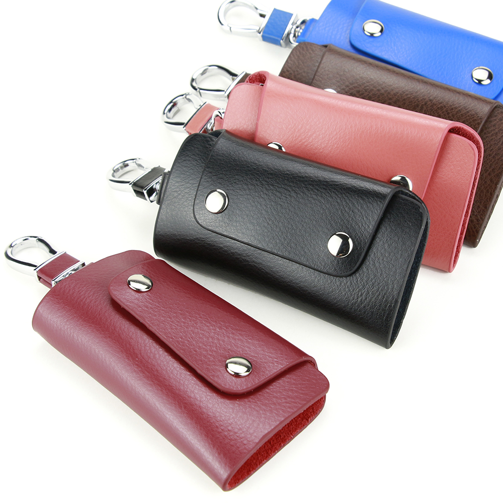 Multicolor Three Folds Key Wallet Double Hasp Leather Key Case Creative Hook Key Bag Casual Pocket Key Holder