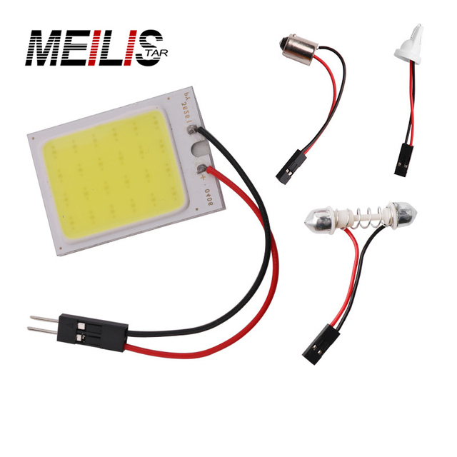 1pcs Parking 10W COB 24Chip LED Car Interior Light T10 Festoon Dome Adapter 12V Panel light bulbs  Auto car light source
