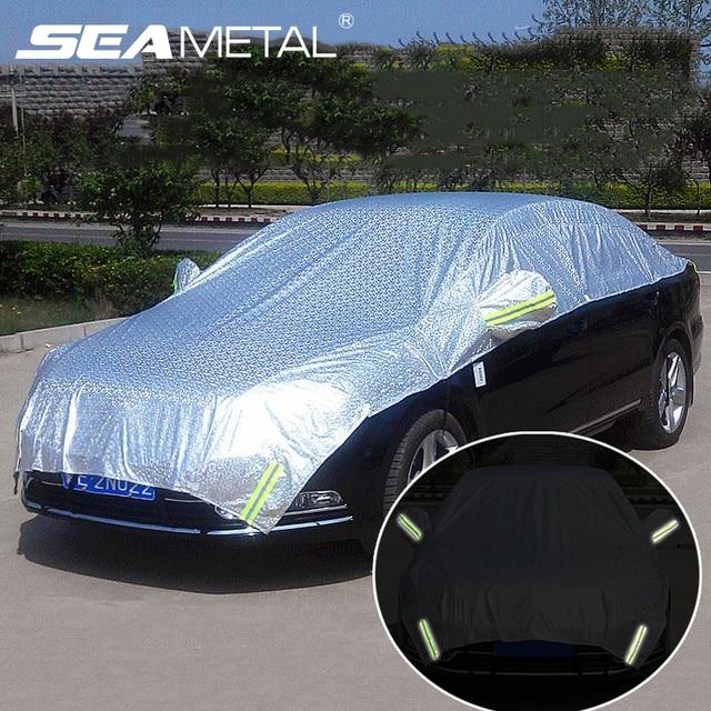 하프 카 커버 창 차양 커튼 자동차 태양 그늘 커버 빛나는 마크 야외 방수 자외선 보호 자동차 액세서리
