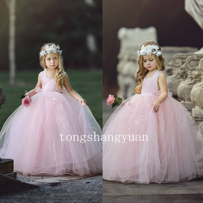 Pink Flower Girl Dresses Birthday Party Pageant Dresses Princess Ball Gown 2017 ball gown sky blue open back with long train ruffles tiered crystals flower girl dress party birthday evening party pageant gown
