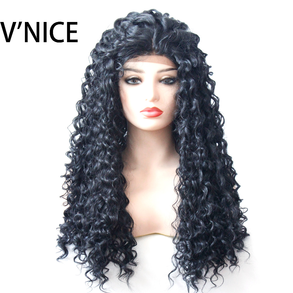 VNICE Black Kinky Curly Synthetic Lace Front Wig for Black Women High Temperature Fiber Free Part Natural Hairline Wigs