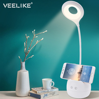 USB LED Eye Clip Small Mini Learning Desk Lamp Touch On/Off Student Reading Dimmer Desk Dormitory Bedroom College Students