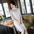 Lace patchwork Chinese tradition dress white hollow slim half sleeve slit cheongsams