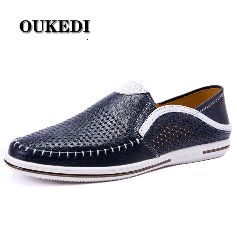 2019 New Casual Shoes Men Leather Brand Fashion Mens Loafers Leather Designer High Quality Moccasins Summer Men Shoes Breathable(China)