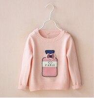 小売yp13660502015新しい秋ファッションの女の子のセーターのアップリケ香水瓶弓の女の子のプルオーバーの子供服のアップリケ