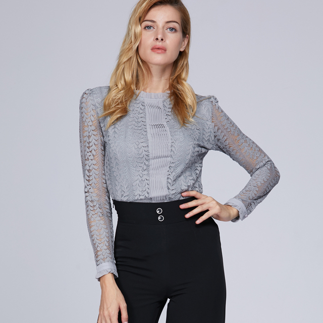 Fashion lace women tops and blouses O neck long sleeved women shirt female clothes causal blouse slim office lady blusas C903 40