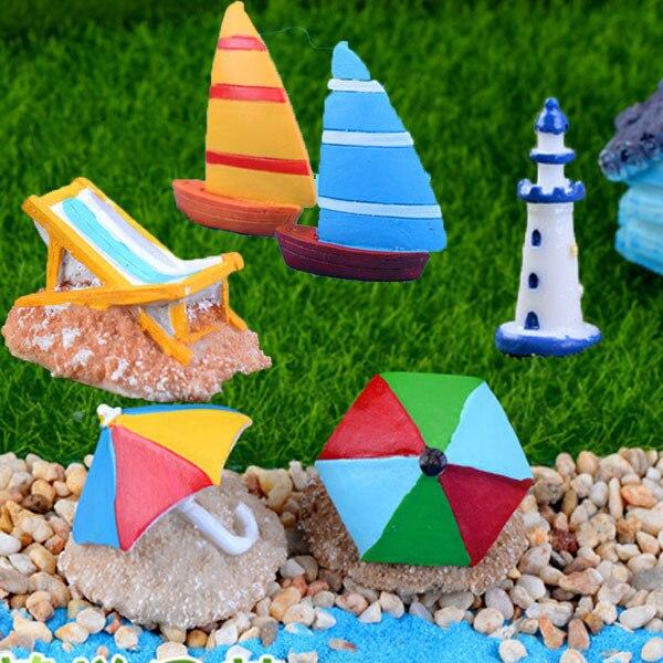 Beach micro landscape  resin craft  sailing micro world fairy garden decoration