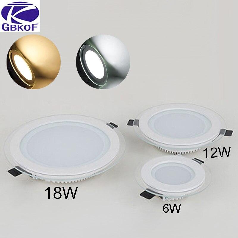 Gbkof 6 Вт 12 Вт 18 Вт светодиодные панели круглая стеклянная крышка светодиодные светильники потолочные встраиваемые огни episar SMD5630 чип лампы ...