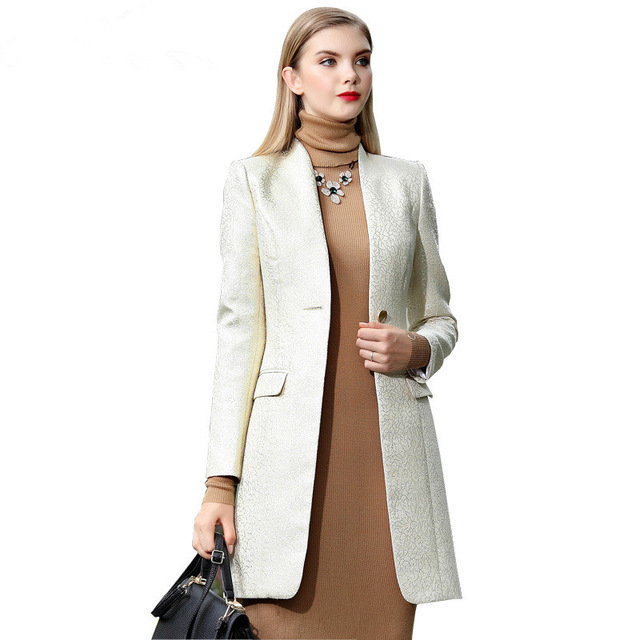 European Style Ladies Long Blazer And Jackets High Quality One Button Coat Business Women Office Muslim clothing Female Suits