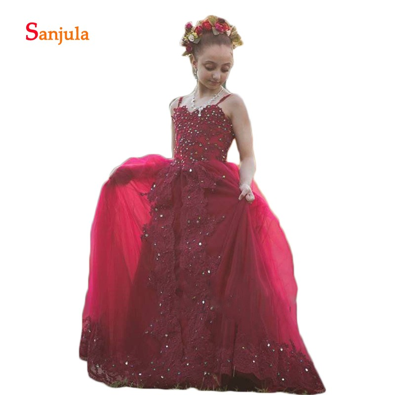 Elegant   Dresses   for Kids Wine Red Spaghetti Strap   Flower     Girl     Dresses   Child Wedding Party   Dresses   Beaded Appliques Pageant D920