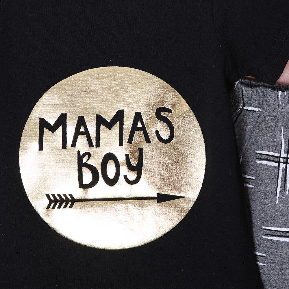 2 шт. новорожденные малышей мальчики девочки детской одежды золотой письмо мамы мальчиков печатных наряд одежда наборы 0-24 м