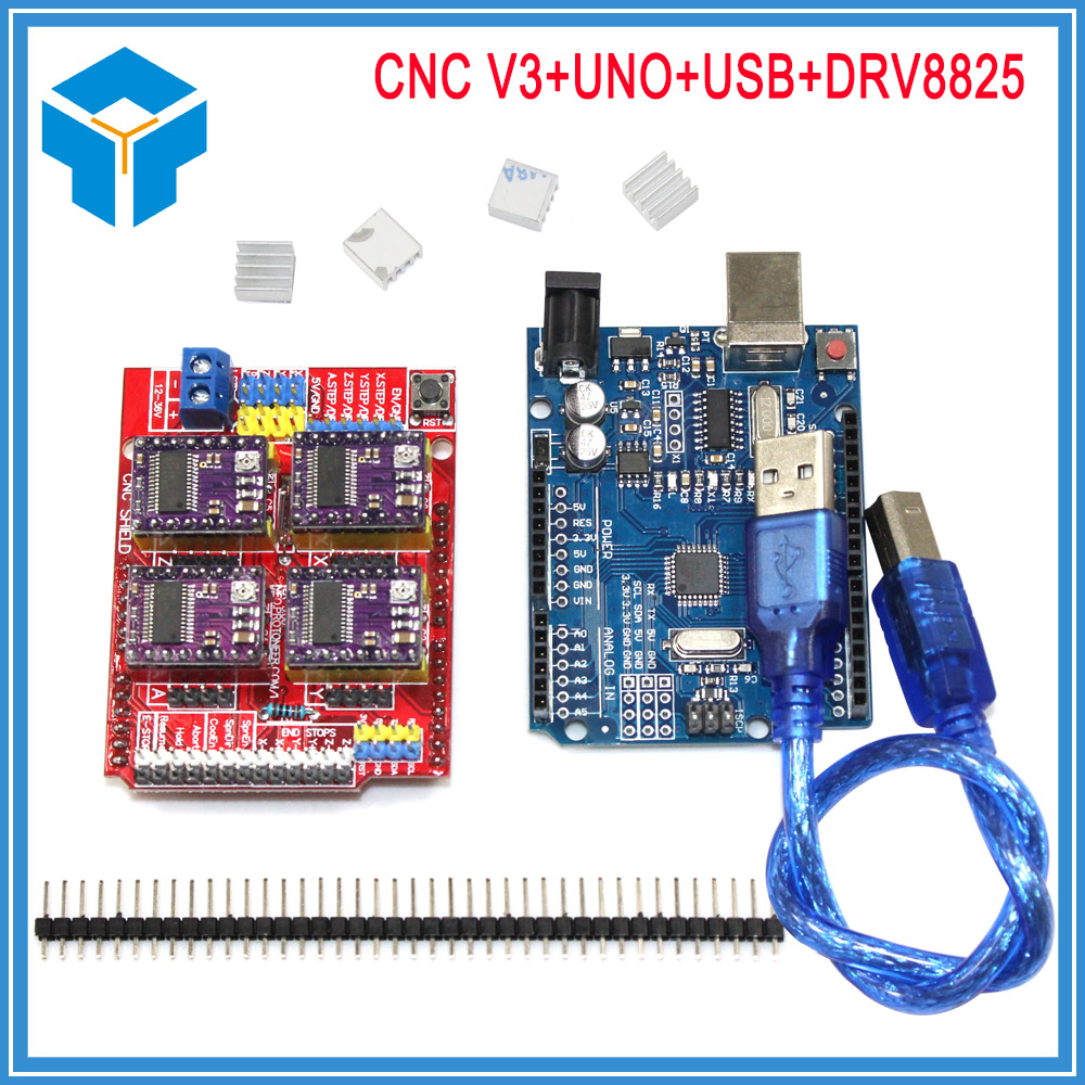 Free Shipping New Cnc Shield V3 Engraving Machine 3D Printer 4pcs DRV8825 Driver Expansion Board