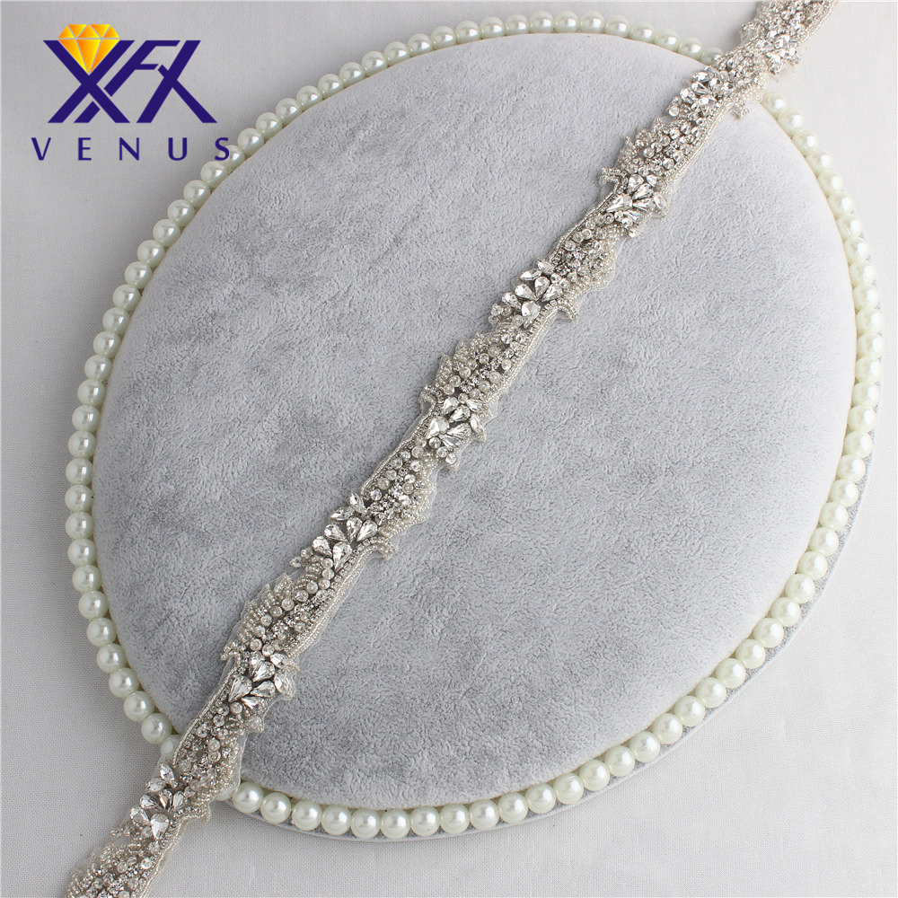 XINFANGXIU 59*3 cm small beads beaded Crystal Glass Silver Rhinestone trim chain Wedding Bridal Dress Sash belt patch 30 pieces