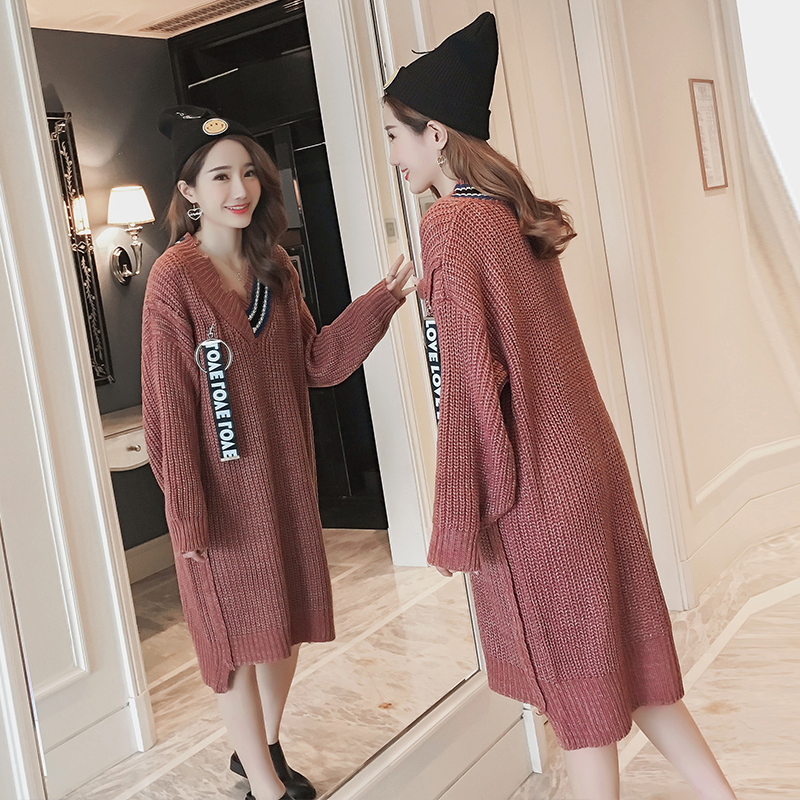 Make maternity qiu dong thickening pregnant women pregnant women sweaters knitted sweater long dress