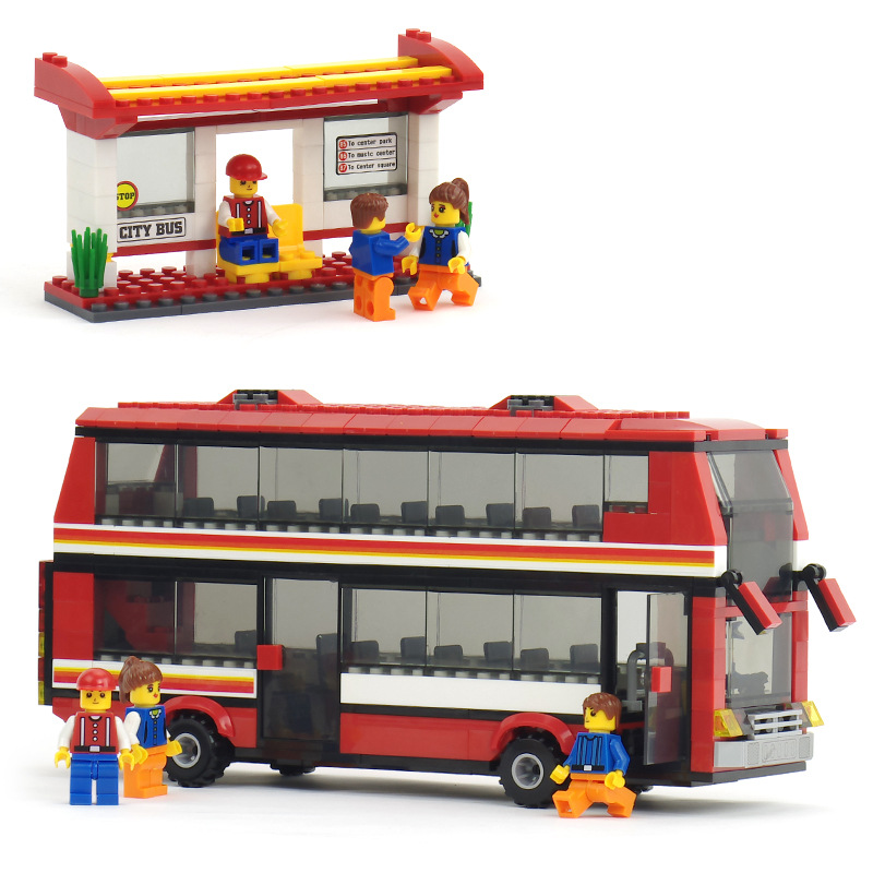 461pcs City Double Bus Blocks Toy for Children Bus Station Blocks Figures Bricks Enlighten Building Blocks Boys Gift K0398-20117 380pcs fire branch city enlighten bricks toy for children ladder truck building blocks fire fighter figures boys gift k0411 910