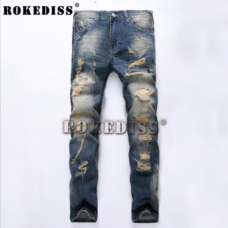 New mens jeans brand destroyed hole jeans straight mens robin jeans slim frayed denim tr ...