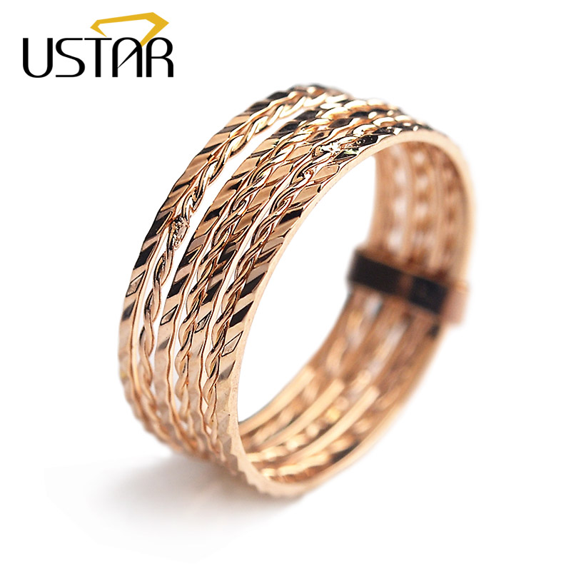 USTAR 7 pcs/set Rings for women Carving Rose Gold color wedding rings female Anel Bijoux gift top quality