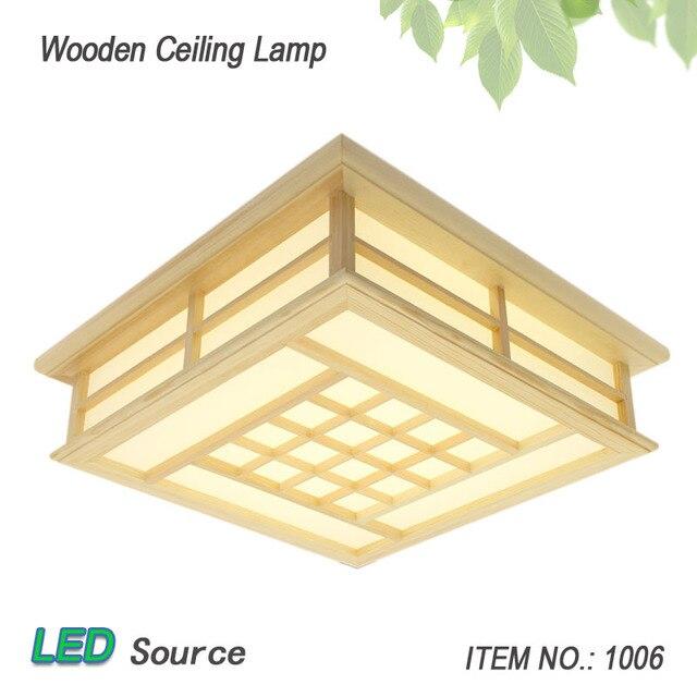 Styl japoński sufit z drewna Tatami Pinus Sylvestris ultra-cienka lampa LED naturalny kolor kwadratowy siatka oprawa oświetleniowa sufitowa