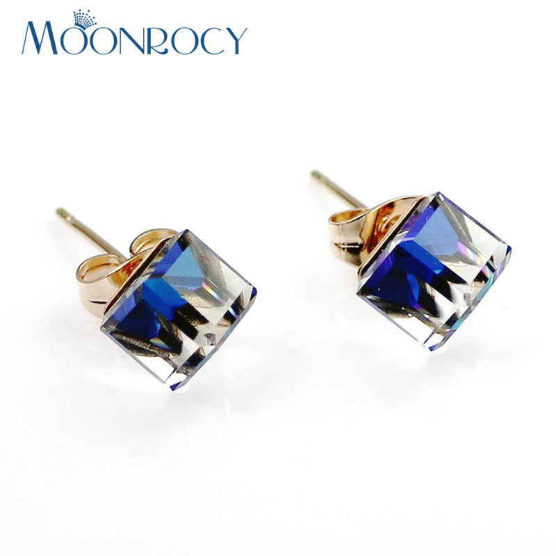 MOONROCY Fashion Jewelry Wholesale Free Shipping Rose Gold Color Blue Purple Green ColourCrystal Earring for Women Girls Gift