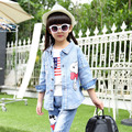 Fashion style cool brand outfits t-shirts jackets pants clothing 3pcs set teenage jeans denim suits clothes for girls 12 years