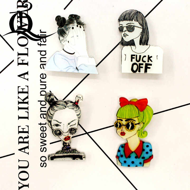 Gratis Pengiriman 1 Pcs Kartun Bros Gadis Keren Ikon Di Ransel Akrilik Lencana Kartun Pin untuk Pakaian Dekorasi Lencana 34