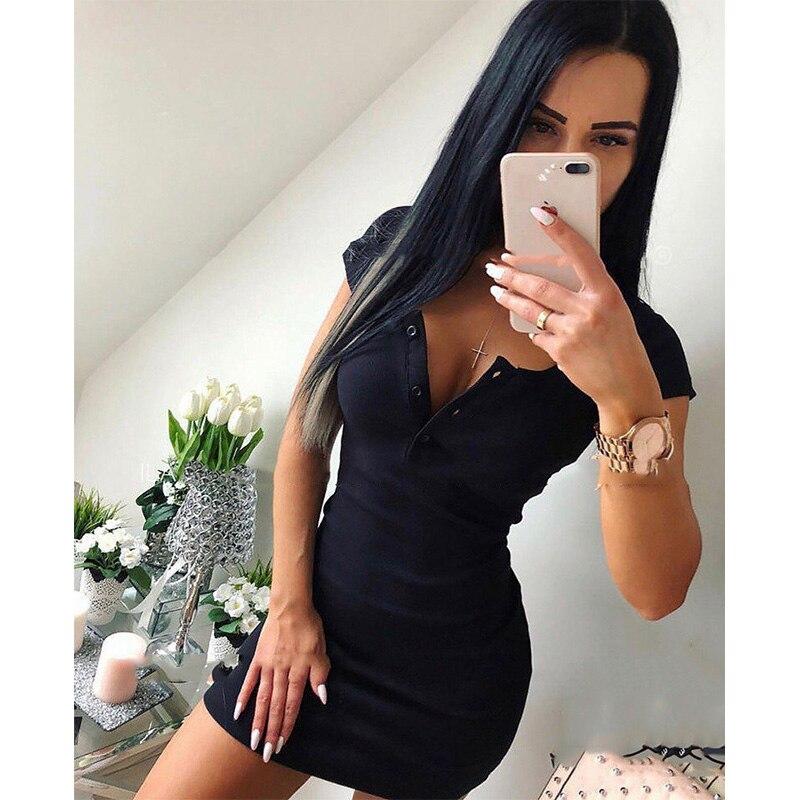 Летнее платье 2018 Осень женское сексуальное повседневное вязаное мини платье футляр женское однотонное платье с v образным вырезом на груди с коротким рукавом облегающее платье