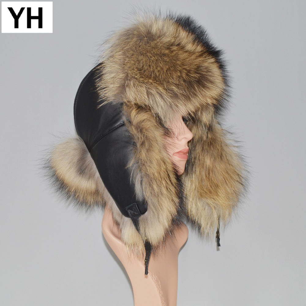 Hat Cap Ear-Protection-Caps Fox-Fur Bomber Russia Winter Real-Leather Genuine Unisex