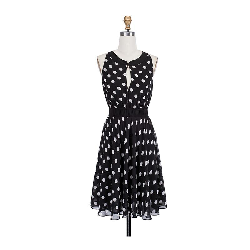 Buy 2018 New Summer Chiffon Halter Dress Sleeveless Line Mini Sweet Robe Sexy Hollow Backless Polka Dot Dresses