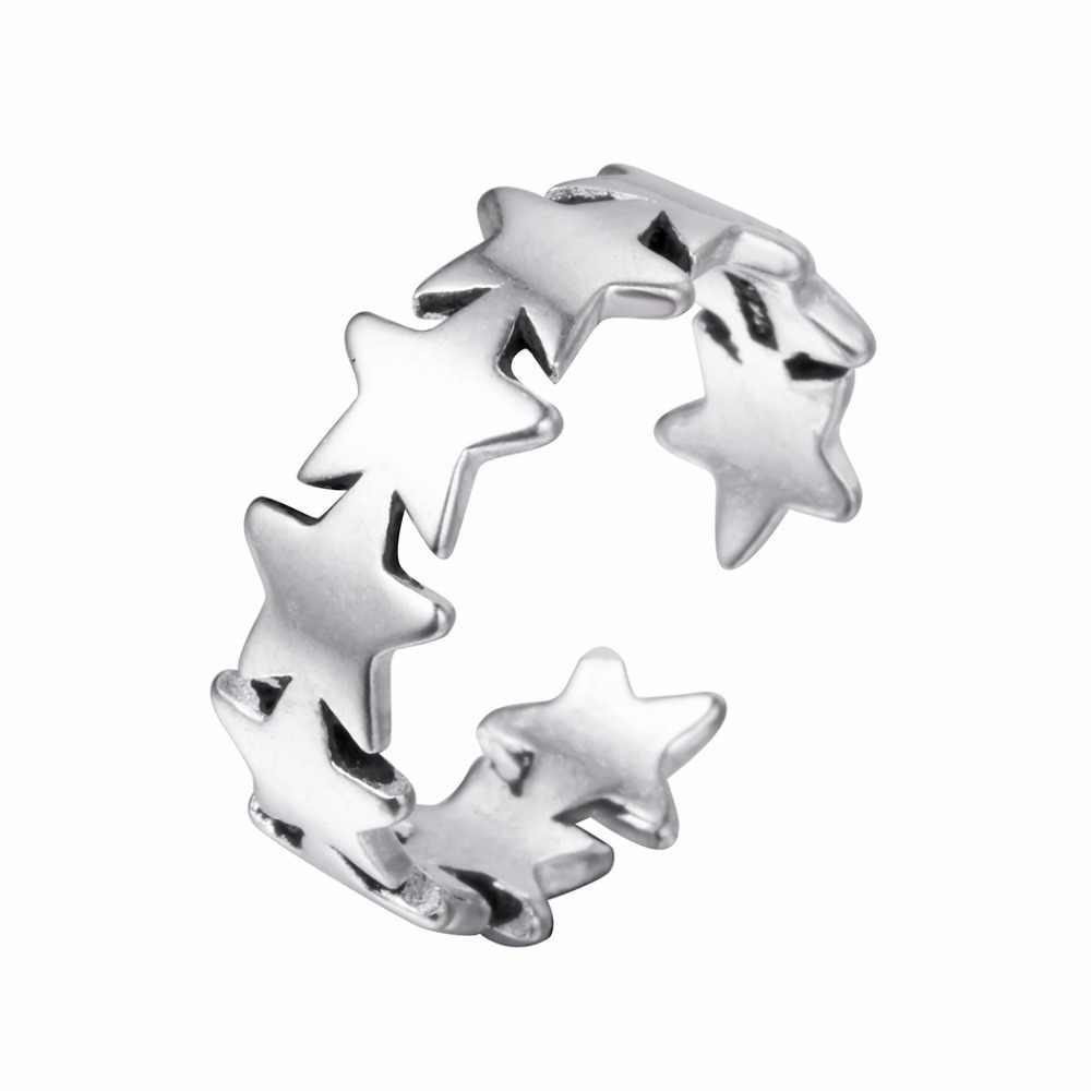 QIAMNI 925 925 тайский серебряный уникальный пять звезд Отрегулируйте Открытое кольцо Рождественские украшения для женщин девушке Подвески подарок на день рождения