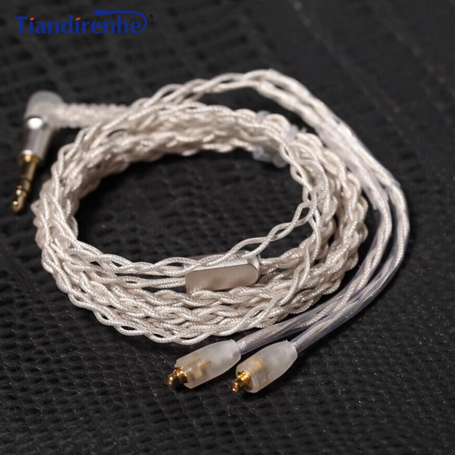 Upgrade MMCX Cable for Shure SE215 SE425 SE535 SE846 UE900 Earphone Headset Silver Plated Headphone Wire with Heat Shrink Tubing