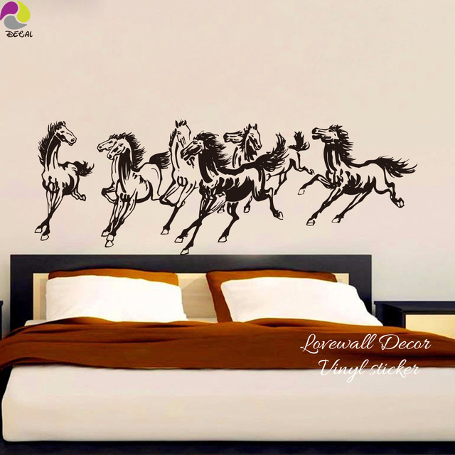 traditional chinese horses wall sticker bedroom living room farm