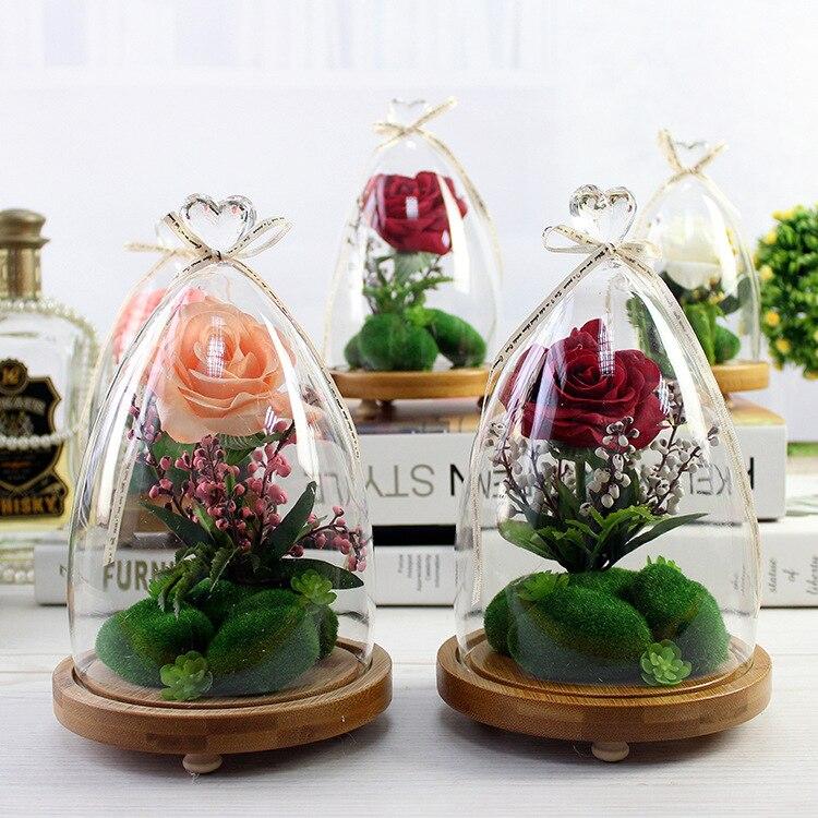 DIY 3 Dimensiune Roz Alb Roșu Sticlă Rose Simulare Flori Landsacpe - Produse pentru sărbători și petreceri