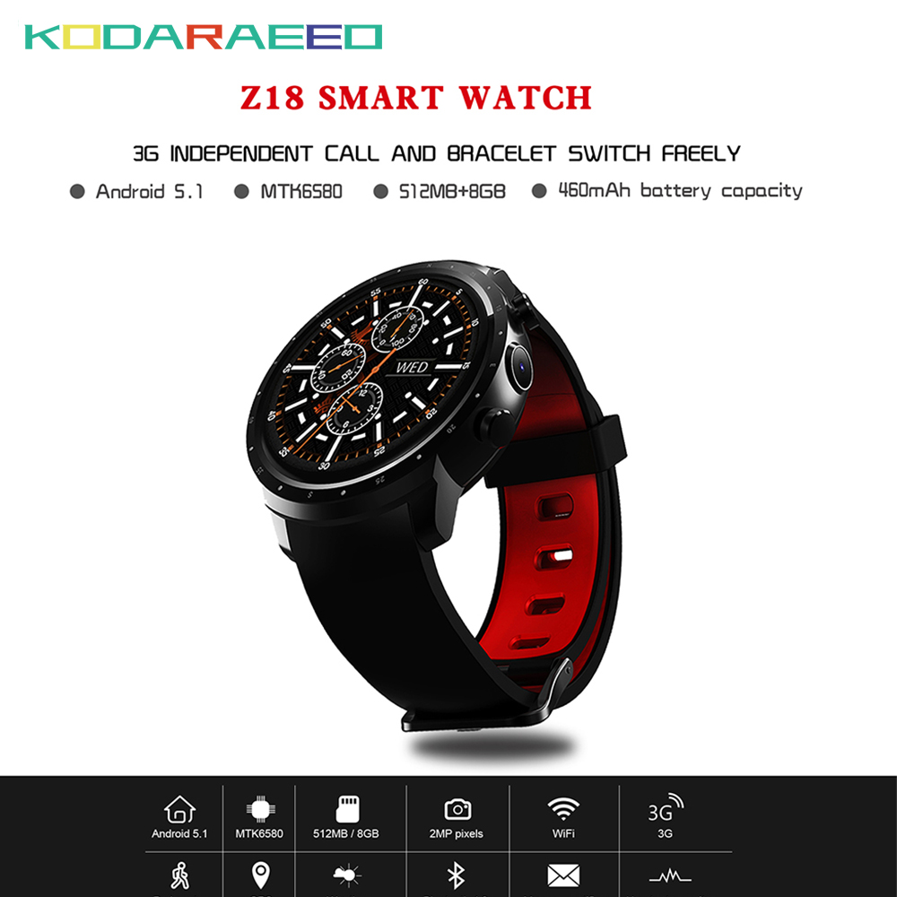 Z18 Smart watch men smart bracelet band clock pedometer Waterproof Bluetooth Android 5.1 Camera GPS 3G Wifi smart Sport watch