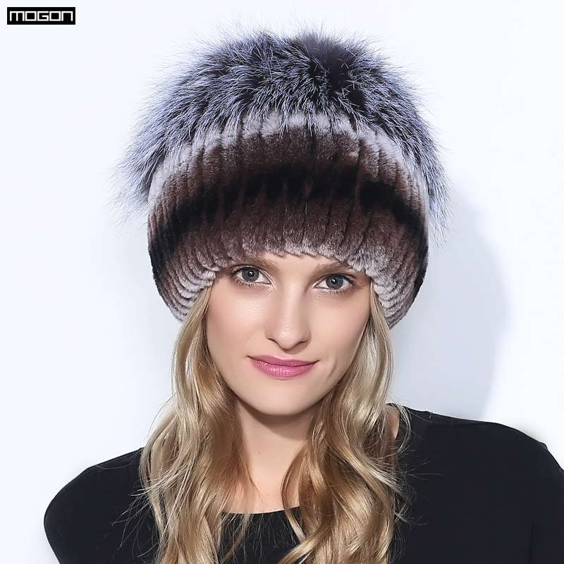 Winter Rex Rabbit Adult Fur Hat For Women With Fox Pom Poms Top Knitted Beanies Hats 2018 New Brand Causal Good Quality Caps winter rex rabbit fur hat for women with fox fur pom poms top knitted beanies fur hats 2015 new brand causal good quality caps